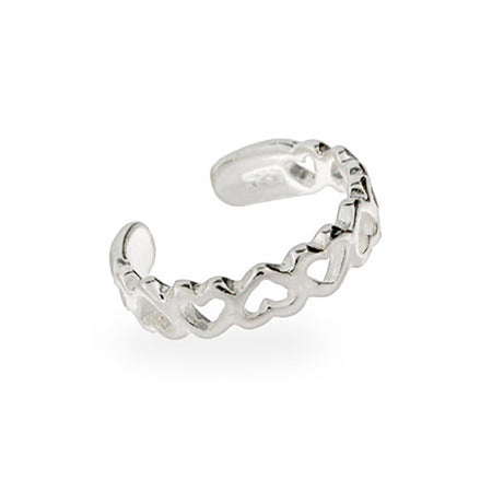 Band of Hearts Sterling Silver Toe Ring