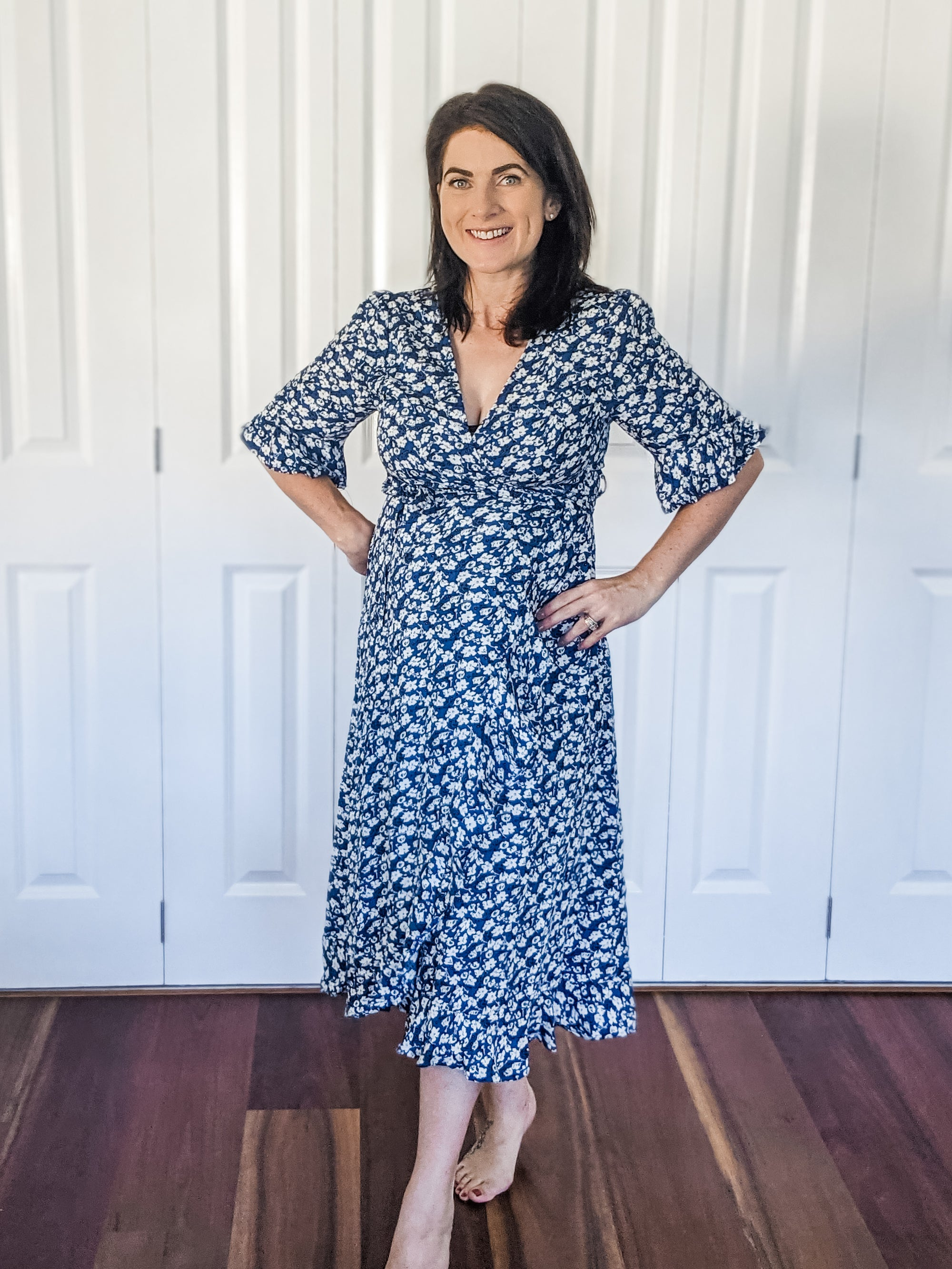 Floral Wrap Dress - Blue