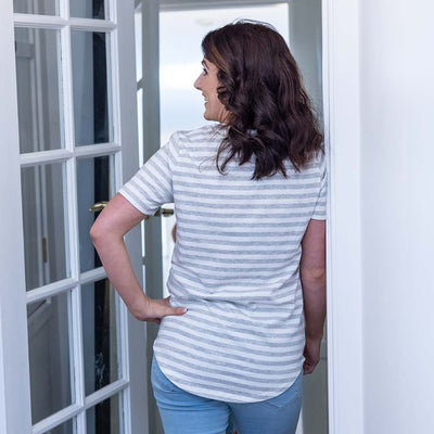 PRE-ORDER: Sydney Nursing Tee - Grey/ White Stripe