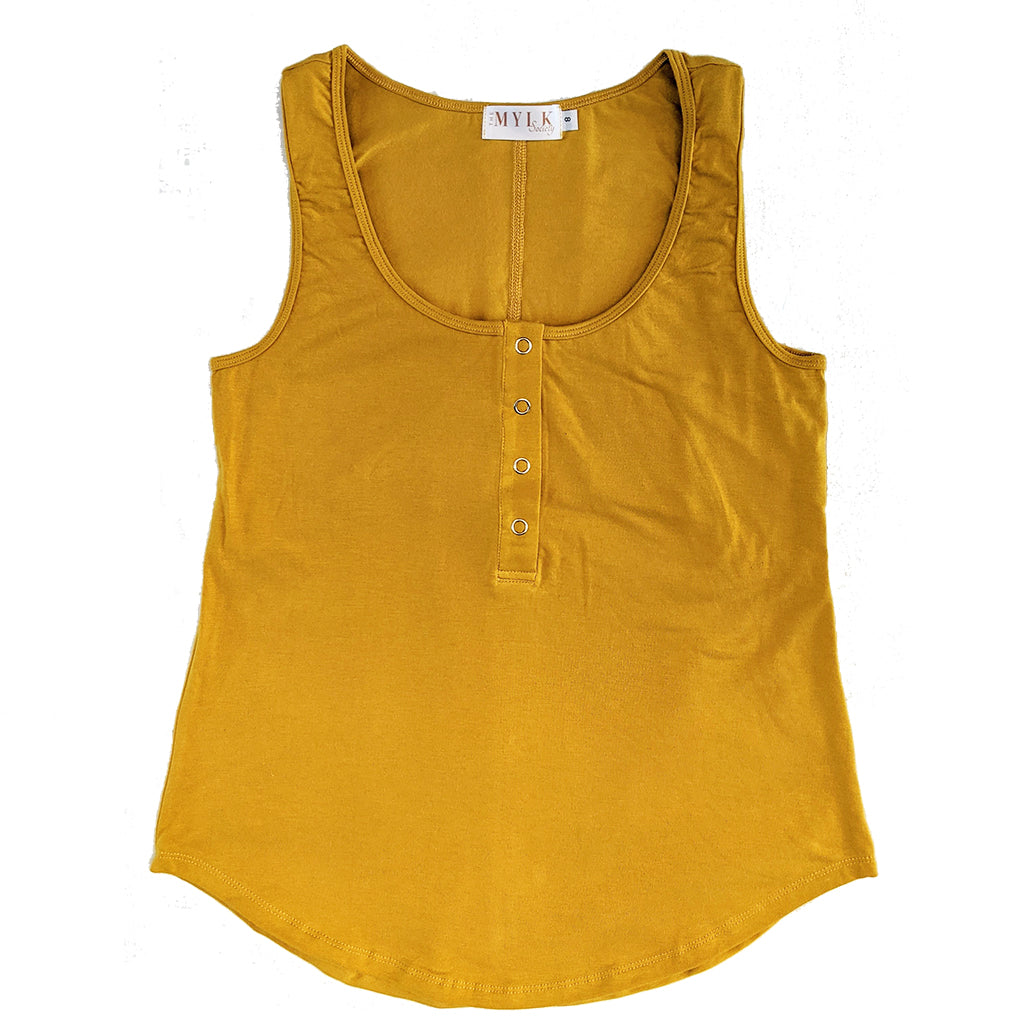Avalon Breastfeeding Snap Tank - Mustard