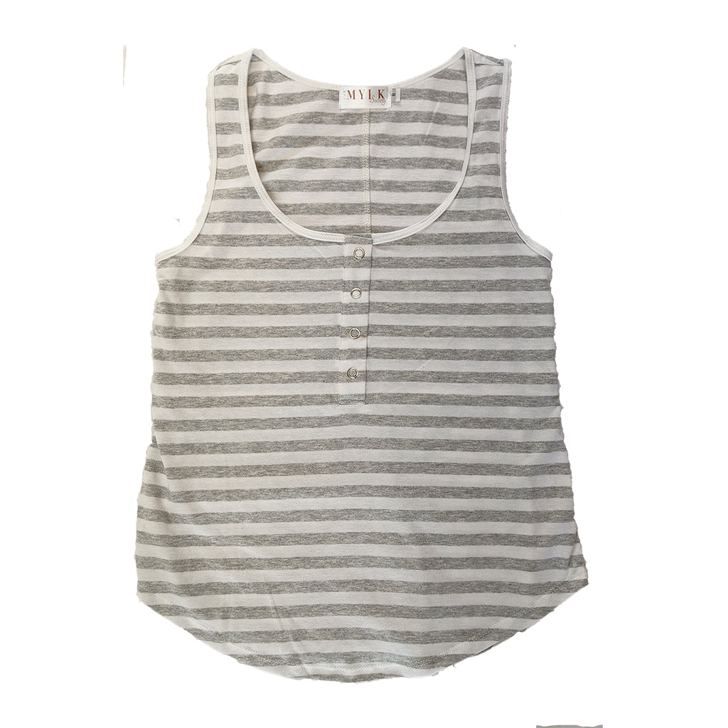 Avalon Breastfeeding Snap Tank - Grey/White Stripe