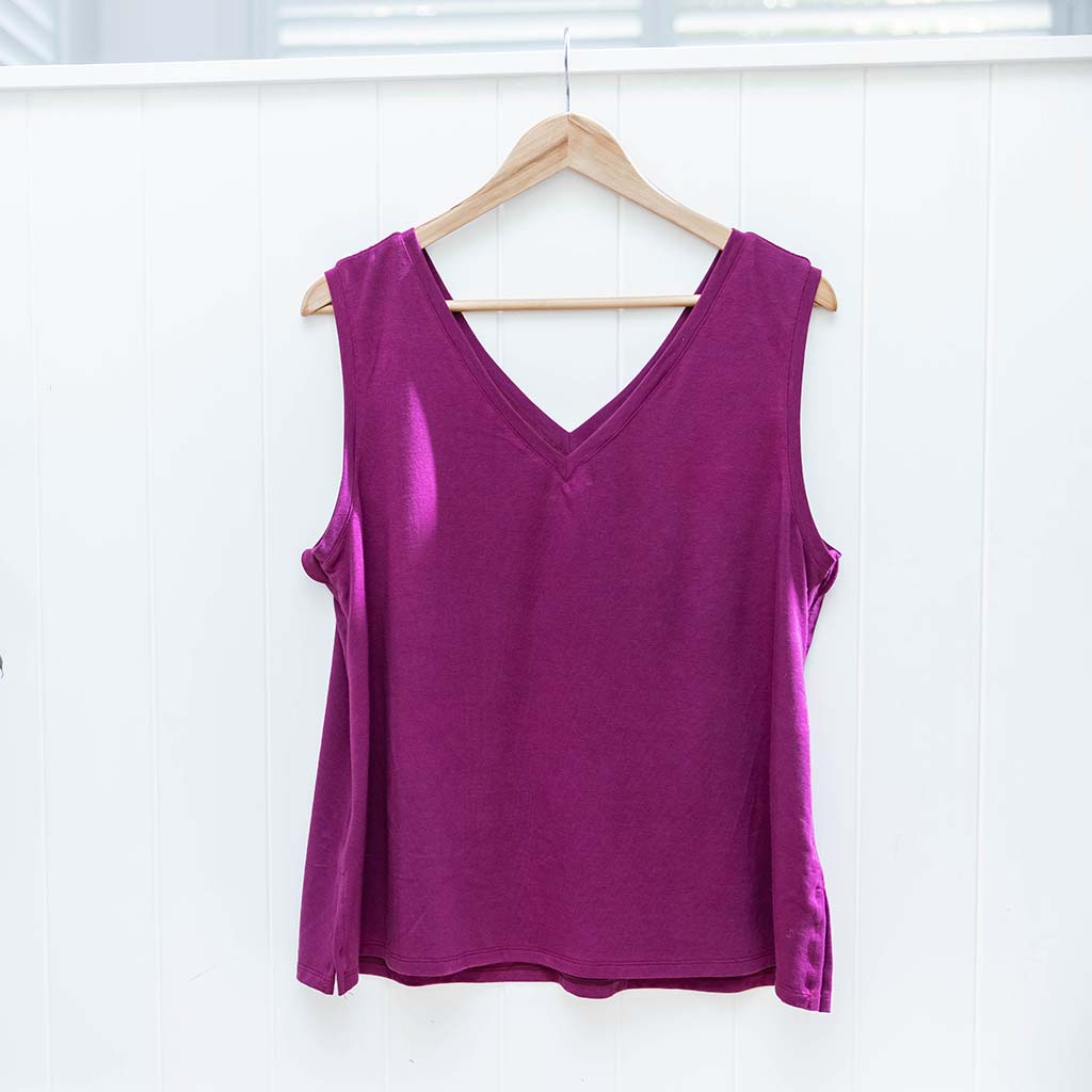 Balmain Breastfeeding V-Neck Tank - Mulberry