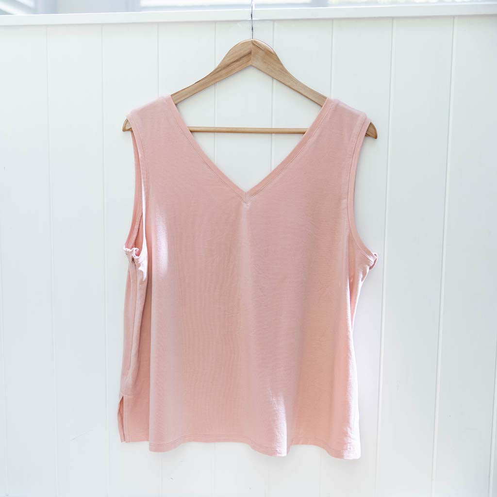 PRE-ORDER: Balmain Breastfeeding V-Neck Tank - Pink