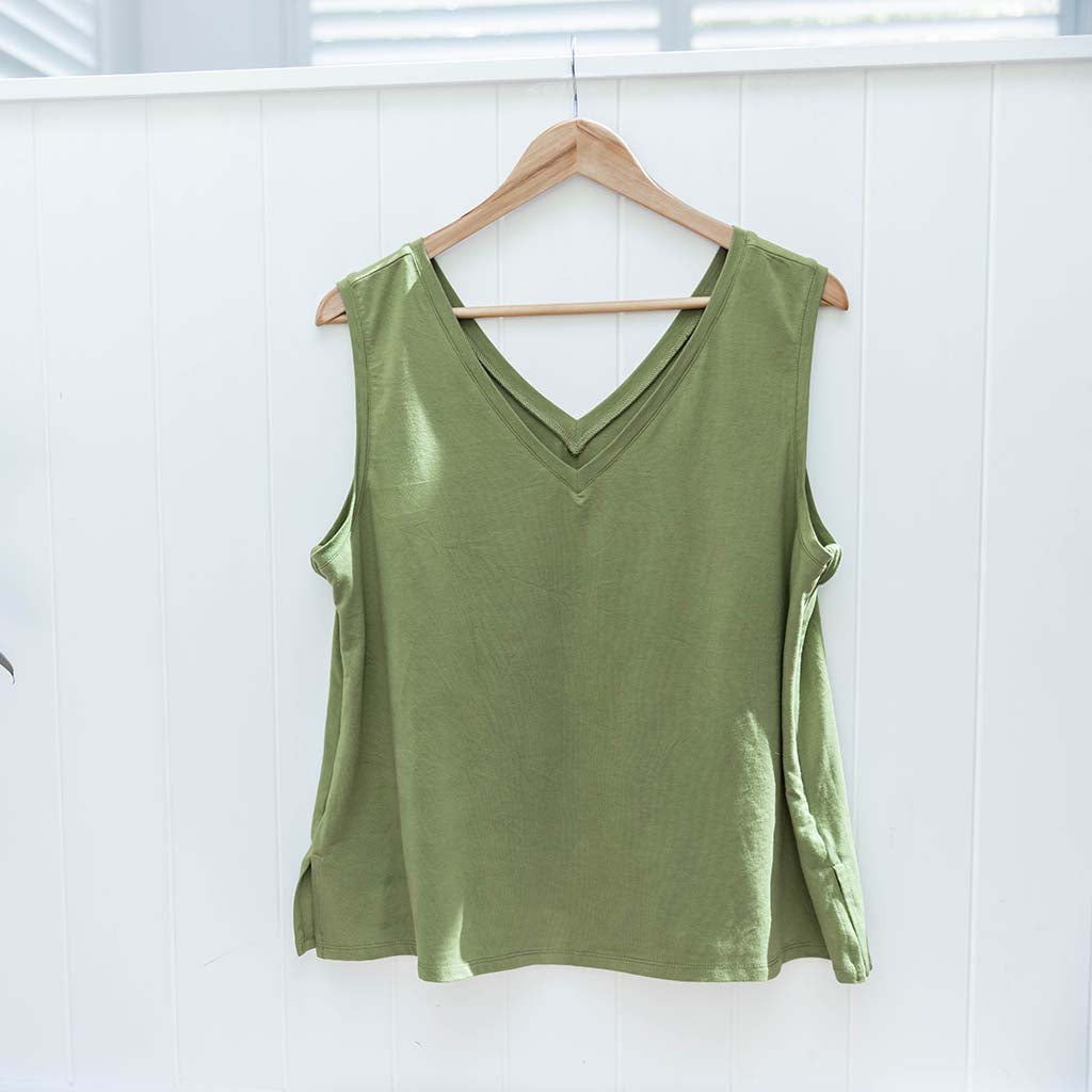 PRE-ORDER: Balmain Breastfeeding V-Neck Tank - Sage