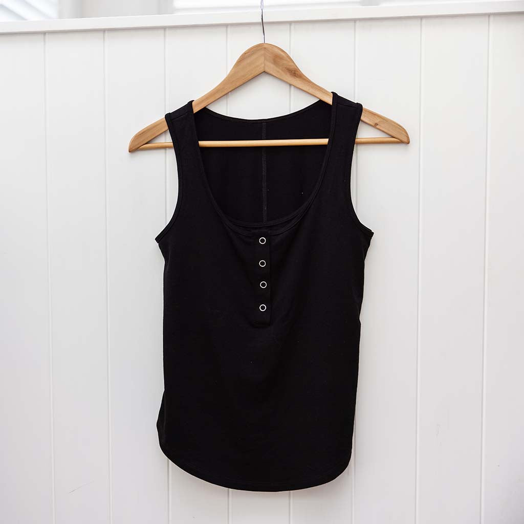 Avalon Breastfeeding Snap Tank - Black