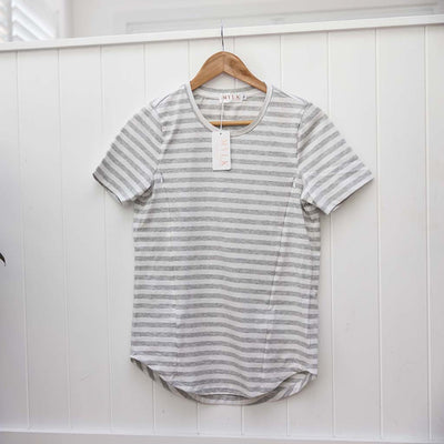 Sydney Nursing Tee - Grey/ White Stripe
