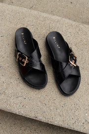 Zayla Slide - Black Croc