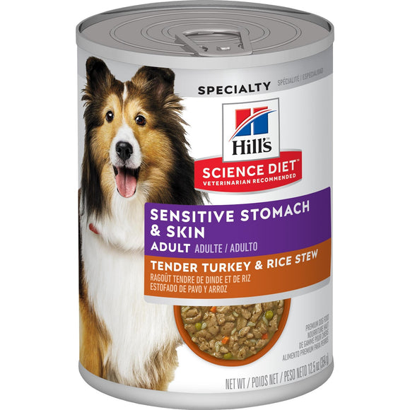 Science Diet Canine Adult Sensitive Stomach & Skin Tender Turkey & Rice Stew can/12.5 oz
