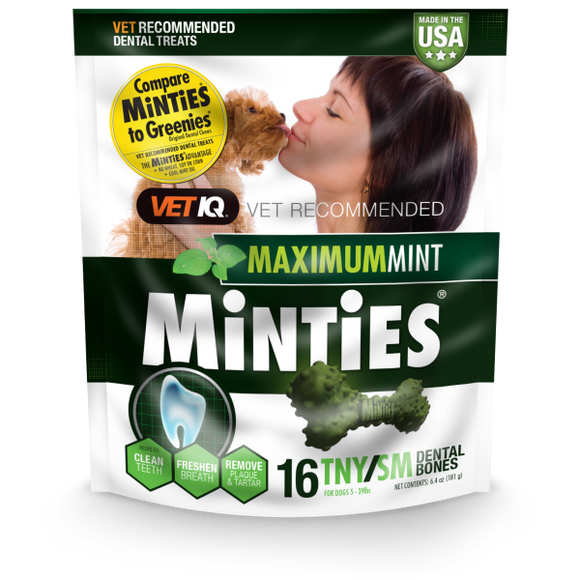 Minties Maximum Mint Dental Bones TNY/SM 6.4 oz 16 ct