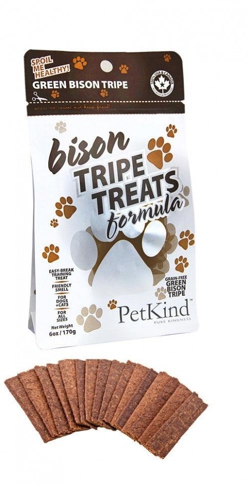 PETKIND Grain Free Bison Tripe Dog Treats - 170g