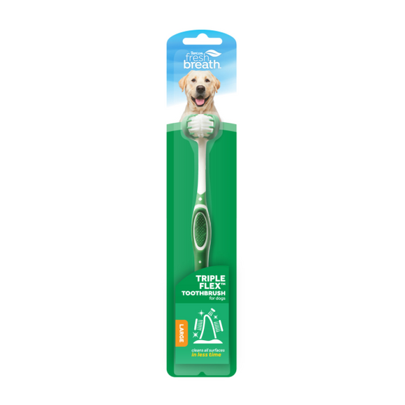 TropiClean Fresh Breath Triple Flex Toothbrush Large Dog