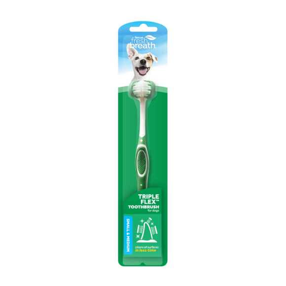 TropiClean Fresh Breath Triple Flex Toothbrush Small Dog