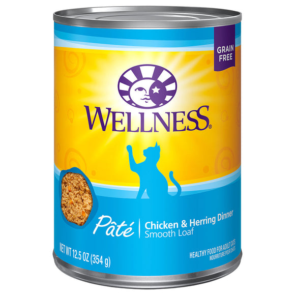 WELLNESS Pate Chicken & Herring Dinner 12/12.5OZ | Cat