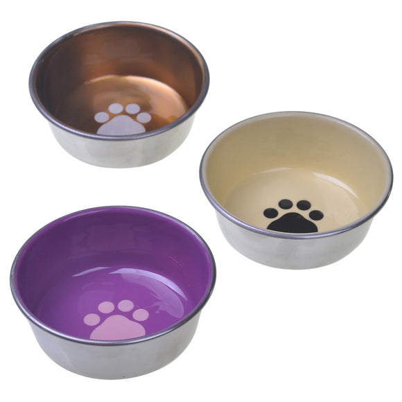 Stainless Steel Decorated Enamel Dish 8OZ |Cat