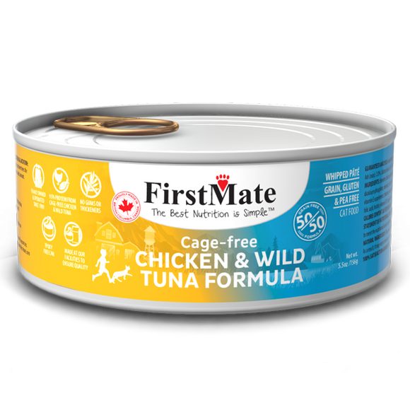 FirstMate Cat GF 50/50 Cage Free Chicken/Wild Tuna 24/5.5 oz