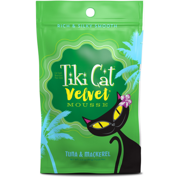 Tiki Cat Velvet Mousse GF Tuna/Mackerel 12/2.8 oz Pouch