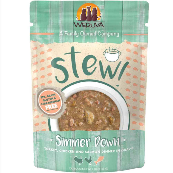 Weruva- Cat Stews Simmer Down Turkey, Chicken and Salmon 12/85g Pch