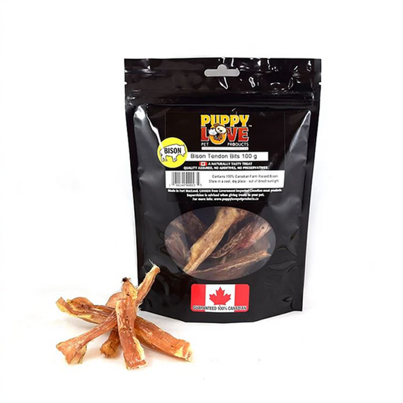 Puppy Love-Bison Tendon Bits 100g