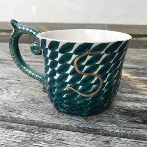 Tea Mug with Gold Leaf Handle