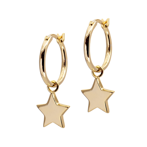 Golden Hoop Earrings with Stars