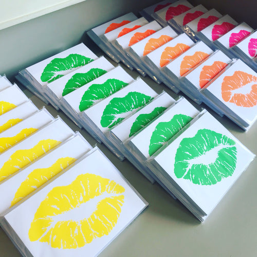 Neon Lips Greeting Cards (Pack of 8)