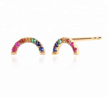 Load image into Gallery viewer, Rainbow Moon Stud Earring SINGLE