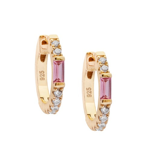 Ruby Love Huggie Hoop Earrings