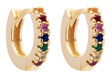 Load image into Gallery viewer, Huggie Hoop Earrings (Rainbow, White, Emerald, Pink and Sapphire)