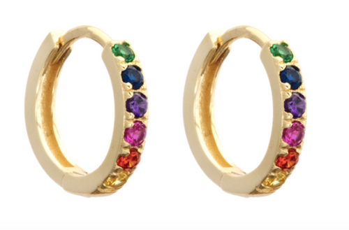 Huggie Hoop Earrings (Rainbow, White, Emerald, Pink and Sapphire)