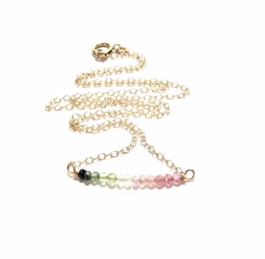 Rainbow Tourmaline Stone Necklace