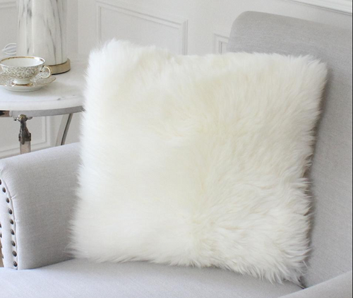 Coloured Sheepskin Double Faced Cushion