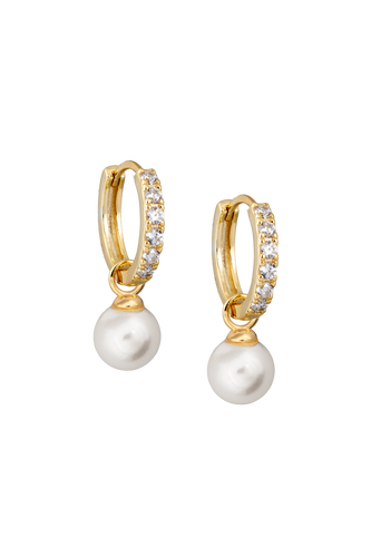 Pearl Drop Zircon Hoop Earrings