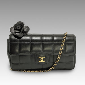 Chanel, Chanel Black Quilted Chocolate Bar Camellia Shoulder Bag - CHLOEZACH