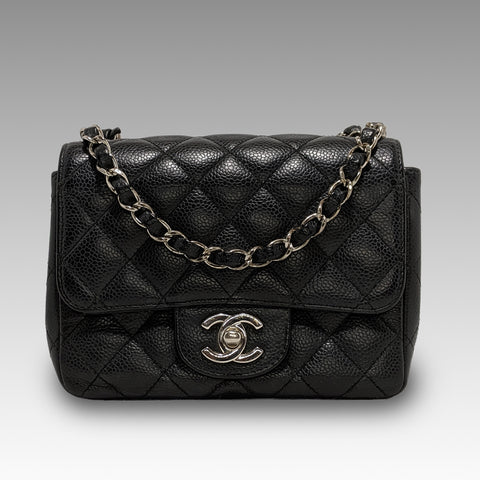 Chanel, Chanel Mini Classic Flap Bag in Black Caviar Leather - CHLOEZACH