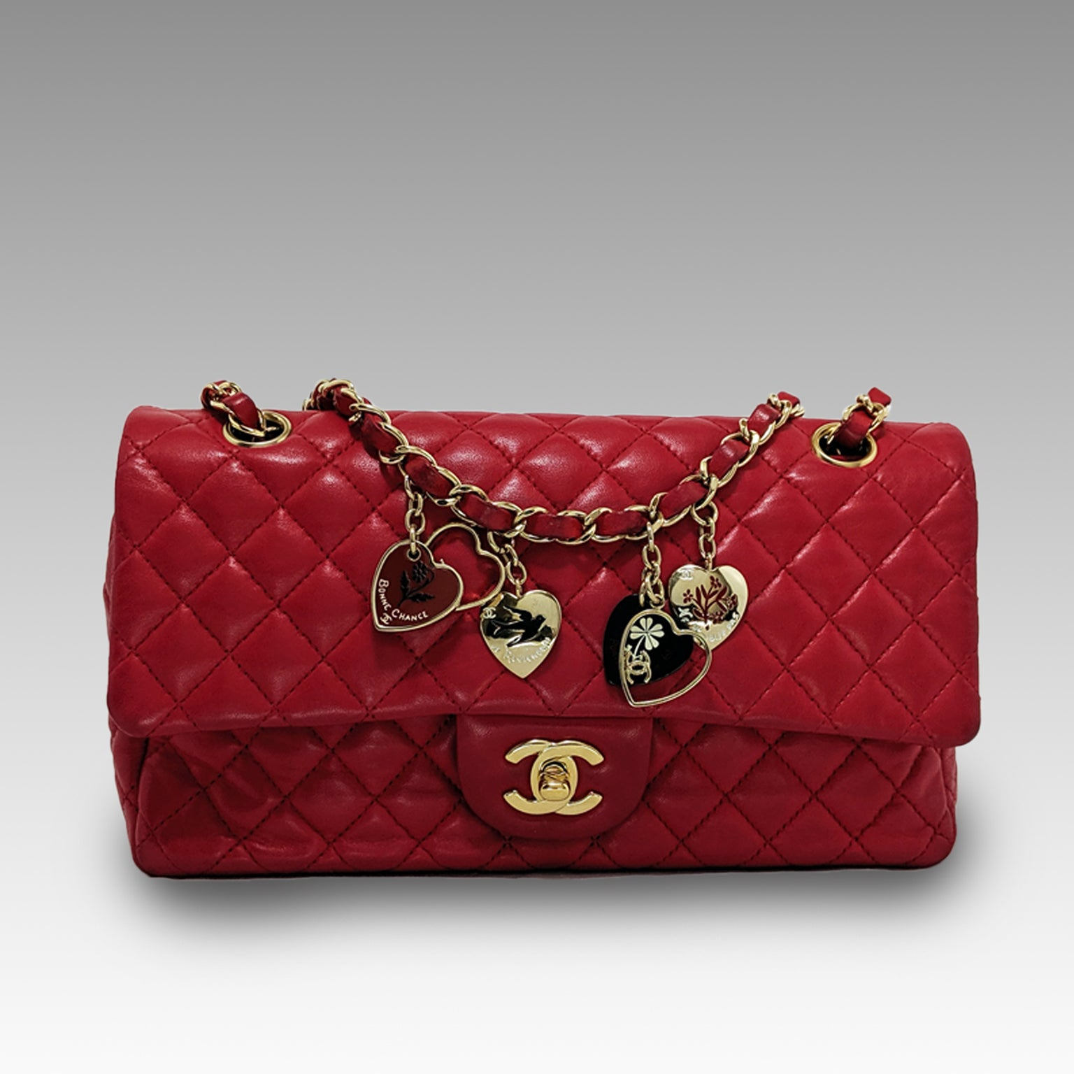 Chanel, Chanel Valentine Edition Flap Bag in Red Lambskin - CHLOEZACH