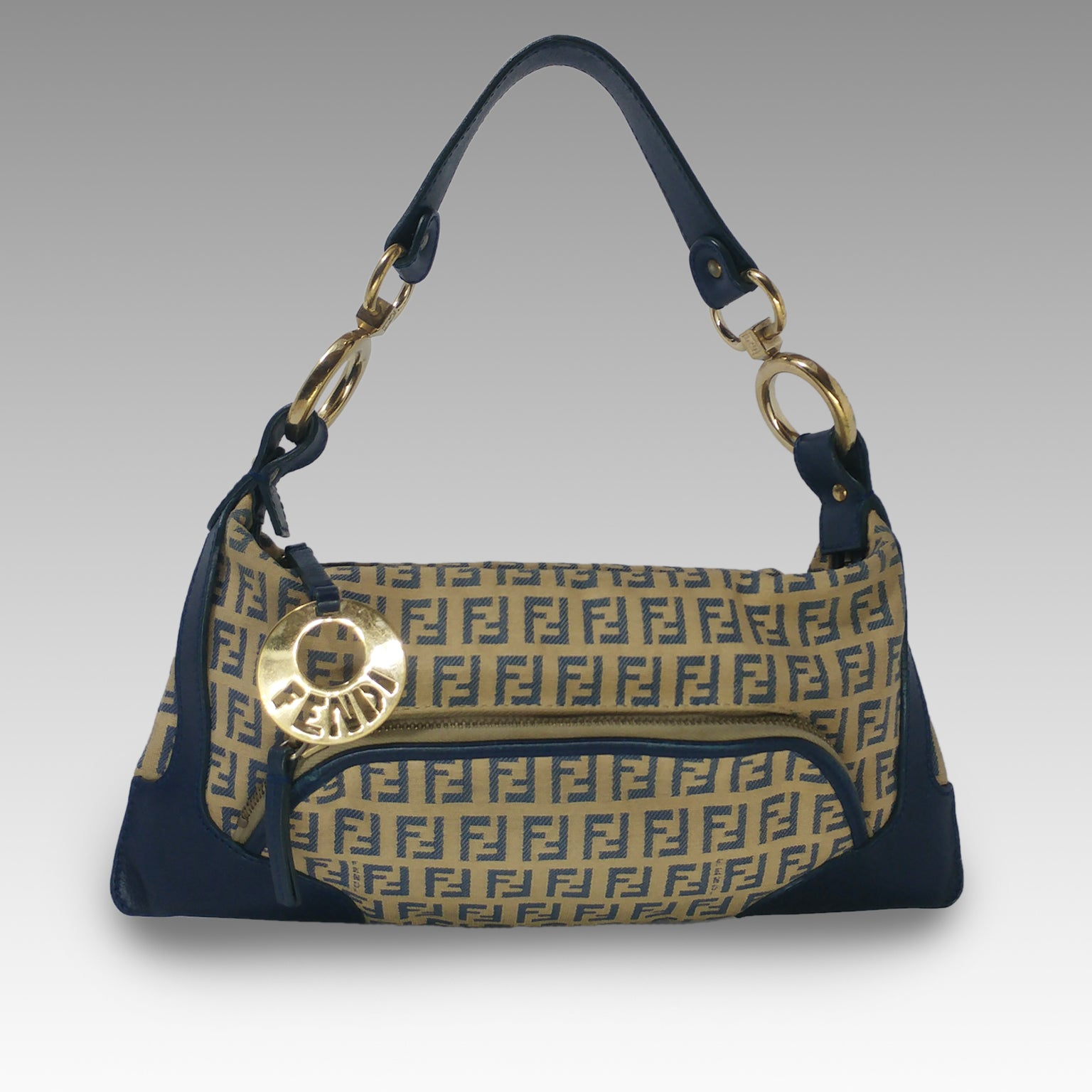 Fendi, Fendi Zucca Brown/Blue Shoulder Bag - CHLOEZACH
