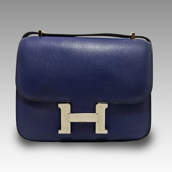 Hermes, Hermes 18cm Blue Leather Palladium Plated Constance Bag - CHLOEZACH
