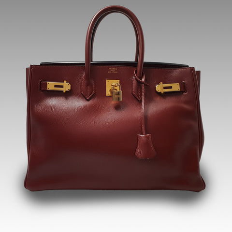 Hermes, Hermes 35cm Rouge H Courchevel Leather Gold Plated Birkin Bag - CHLOEZACH