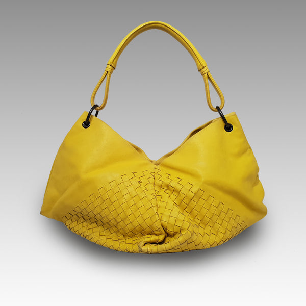 Bottega Veneta, Bottega Veneta Yellow Woven Leather Aquilone Fortune Cookie Hobo Bag - CHLOEZACH
