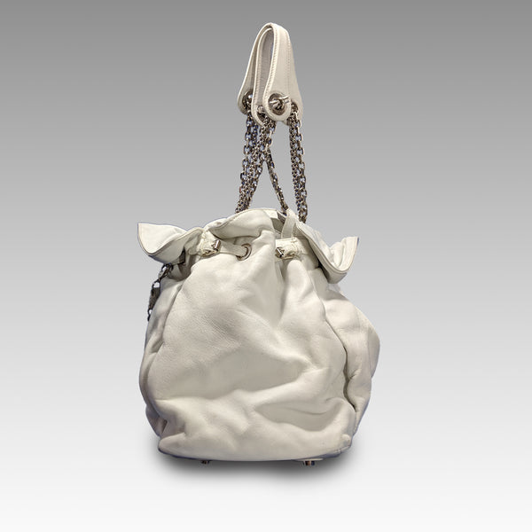 Christian Dior, Christian Dior White Leather Tote Bag - CHLOEZACH