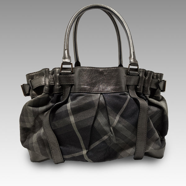Burberry, Burberry Gray Shimmer Check Shoulder Tote Bag - CHLOEZACH