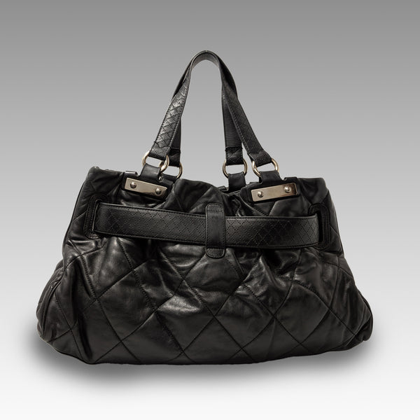 Chanel, Chanel Black Door Latch Leather Tote Bag - CHLOEZACH