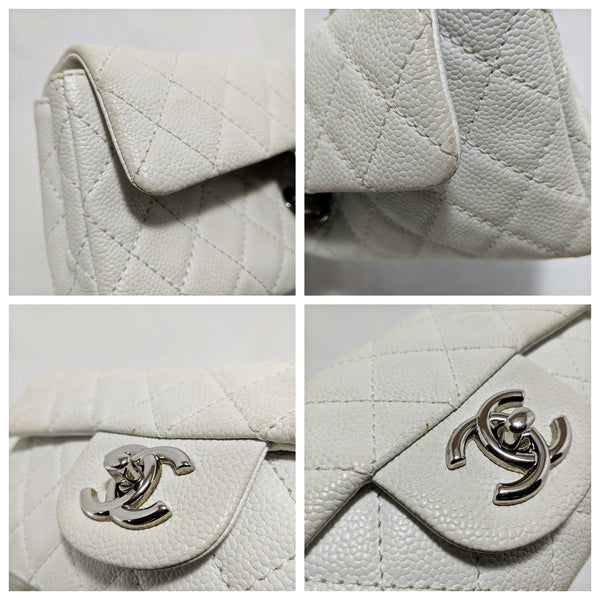 Chanel, Chanel Rectangular Classic Flap Bag in White Caviar Leather - CHLOEZACH