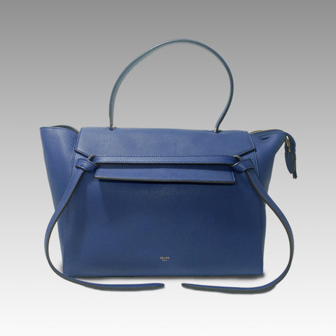 Celine, Celine Indigo Grained Leather Small Belt Bag - CHLOEZACH