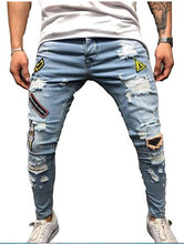 Load image into Gallery viewer, Casual Distressed Denim Jeans
