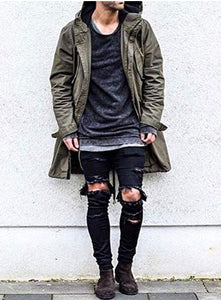 Stretchy Ripped Skinny Biker Jeans