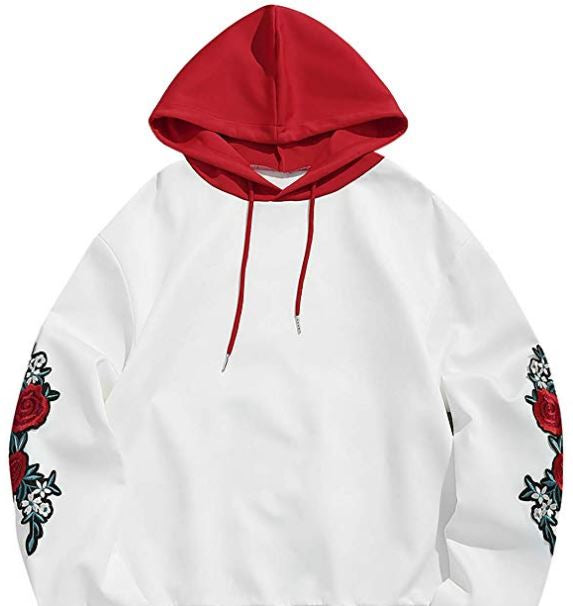 Rose Embroidery Drawstring Pullover