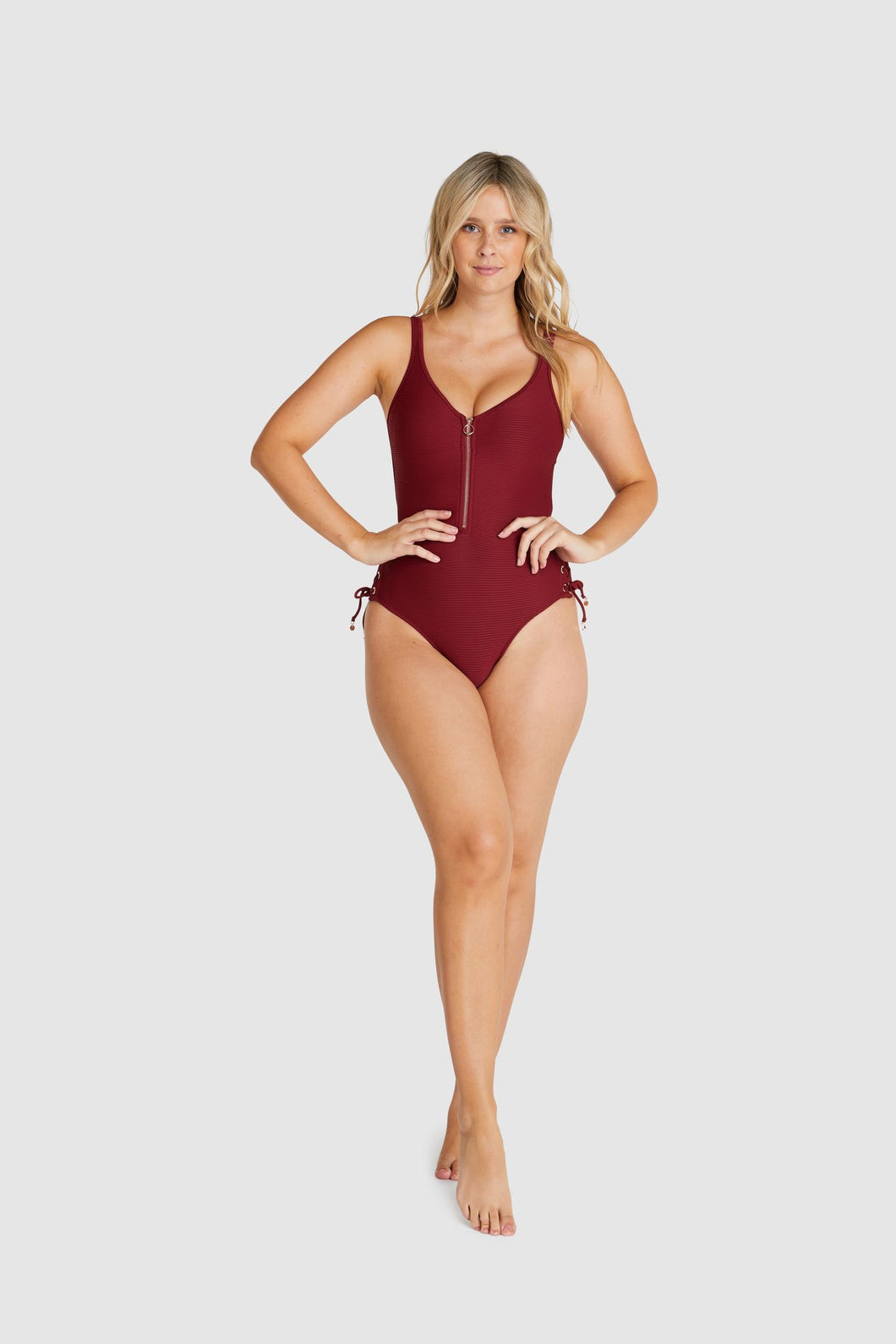 BAKU - RIBTIDE - ZIP FRONT ONE PIECE - CURRANT