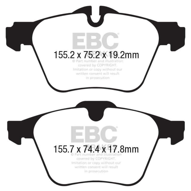 EBC 13+ Jaguar F-Type (Cast Iron Rotors Only) 3.0 Supercharged (340) Redstuff Front Brake Pads - free shipping - Fastmodz