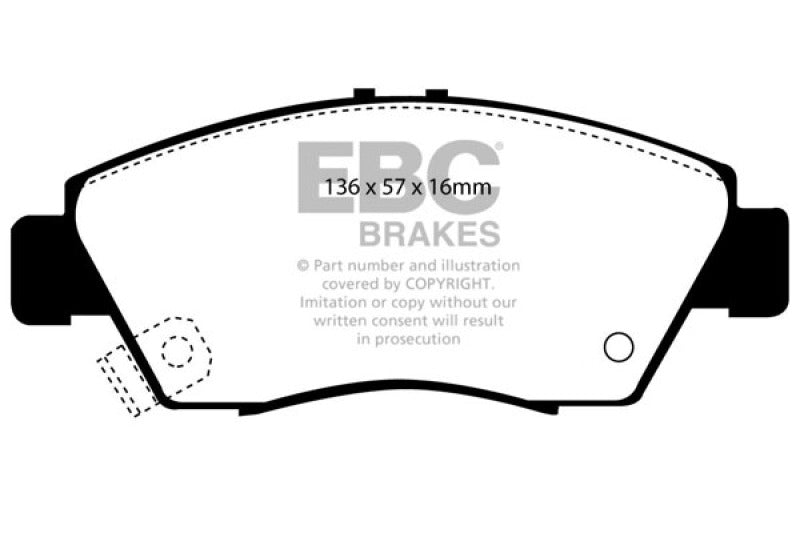 EBC 12 Acura ILX 1.5 Hybrid Greenstuff Front Brake Pads - free shipping - Fastmodz